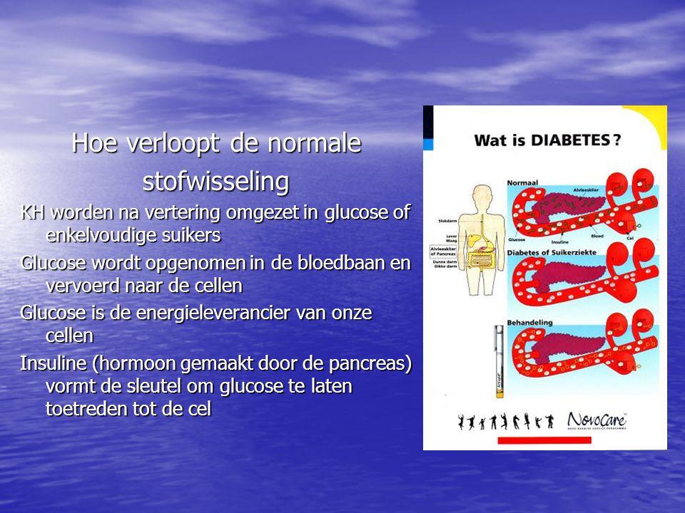 Hoe verloopt de normale stofwisseling KH worden na vertering omgezet in glucose of enkelvoudige suikers Glucose wordt opgenomen in de bloedbaan en ver