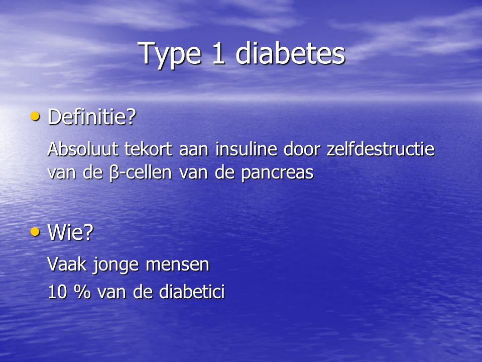 Type 1 diabetes Definitie? Definitie? Absoluut tekort aan insuline door zelfdestructie van de β-cellen van de pancreas Wie? Wie? Vaak jonge mensen 10