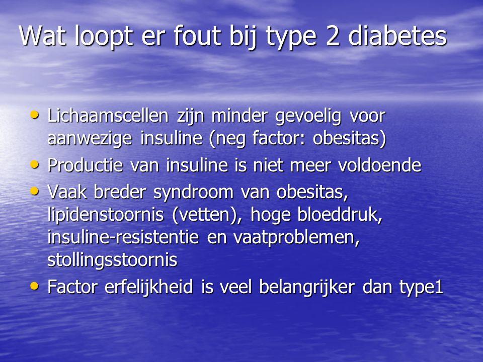 Wat loopt er fout bij type 2 diabetes Lichaamscellen zijn minder gevoelig voor aanwezige insuline (neg factor: obesitas) Lichaamscellen zijn minder ge