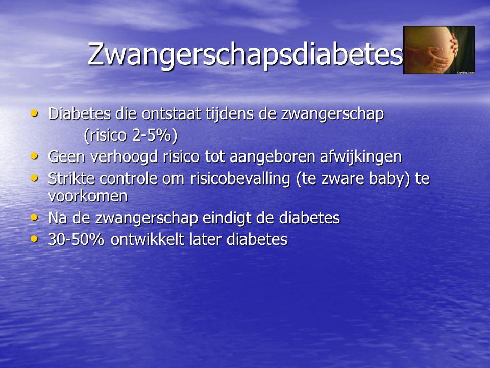 Zwangerschapsdiabetes Diabetes die ontstaat tijdens de zwangerschap Diabetes die ontstaat tijdens de zwangerschap (risico 2-5%) (risico 2-5%) Geen ver