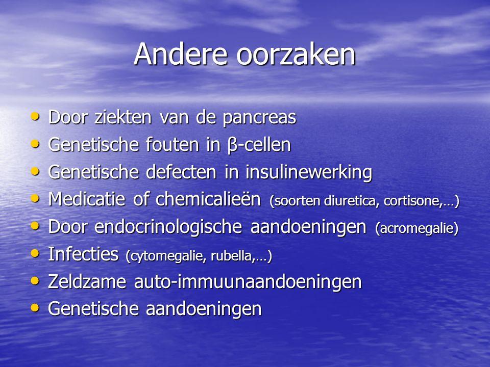 Andere oorzaken Door ziekten van de pancreas Door ziekten van de pancreas Genetische fouten in β-cellen Genetische fouten in β-cellen Genetische defec