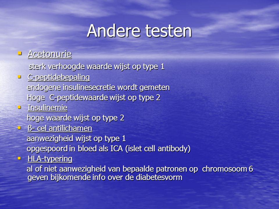 Andere testen  Acetonurie sterk verhoogde waarde wijst op type 1 sterk verhoogde waarde wijst op type 1  C-peptidebepaling endogene insulinesecretie