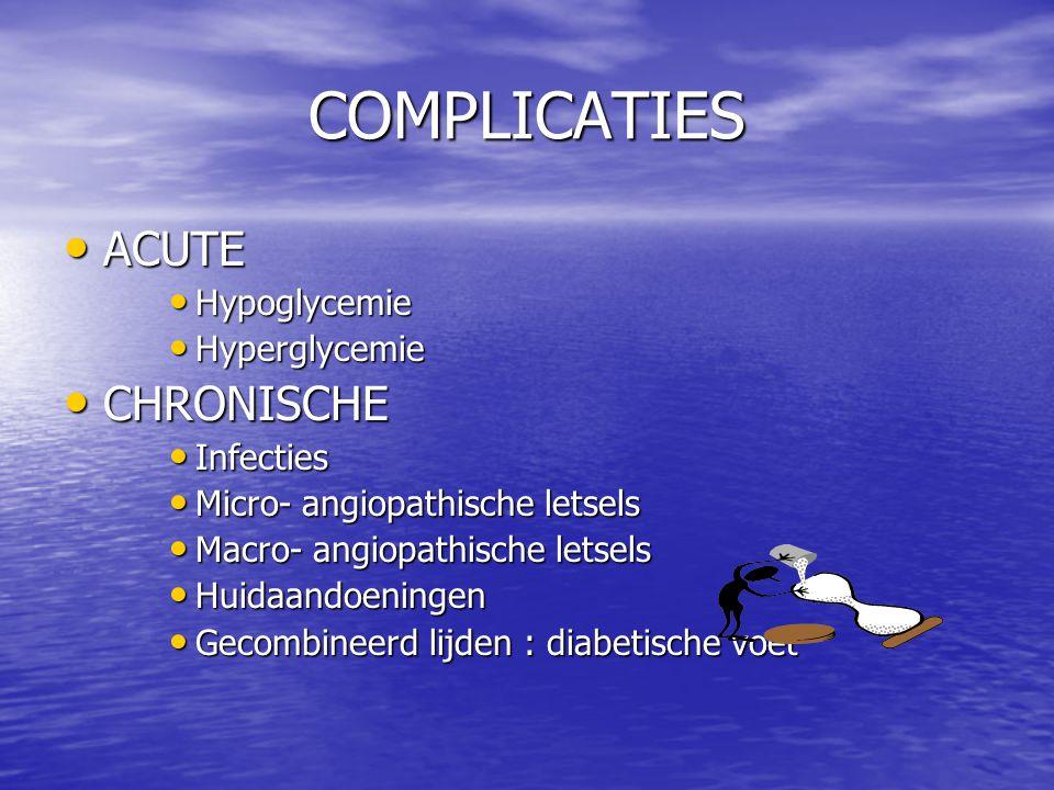 COMPLICATIES ACUTE ACUTE Hypoglycemie Hypoglycemie Hyperglycemie Hyperglycemie CHRONISCHE CHRONISCHE Infecties Infecties Micro- angiopathische letsels