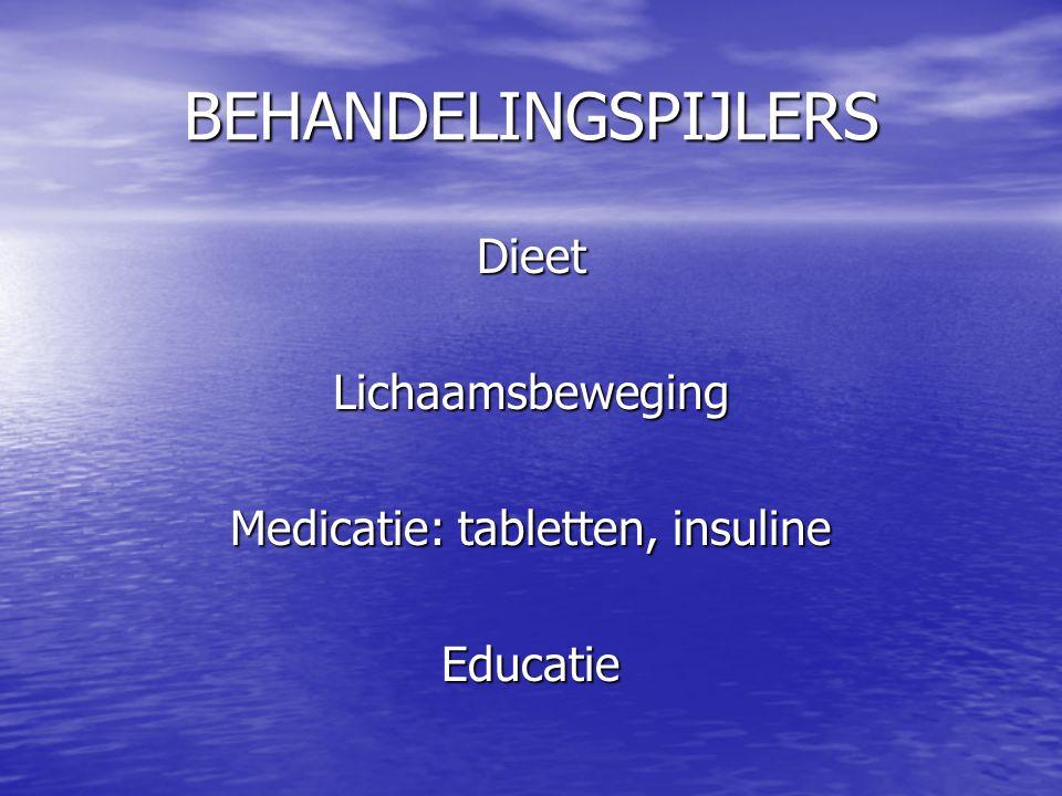 BEHANDELINGSPIJLERS DieetLichaamsbeweging Medicatie: tabletten, insuline Educatie