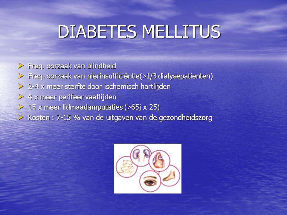 DIABETES MELLITUS  Freq. oorzaak van blindheid  Freq. oorzaak van nierinsufficiëntie(  1/3 dialysepatienten)  2-4 x meer sterfte door ischemisch h