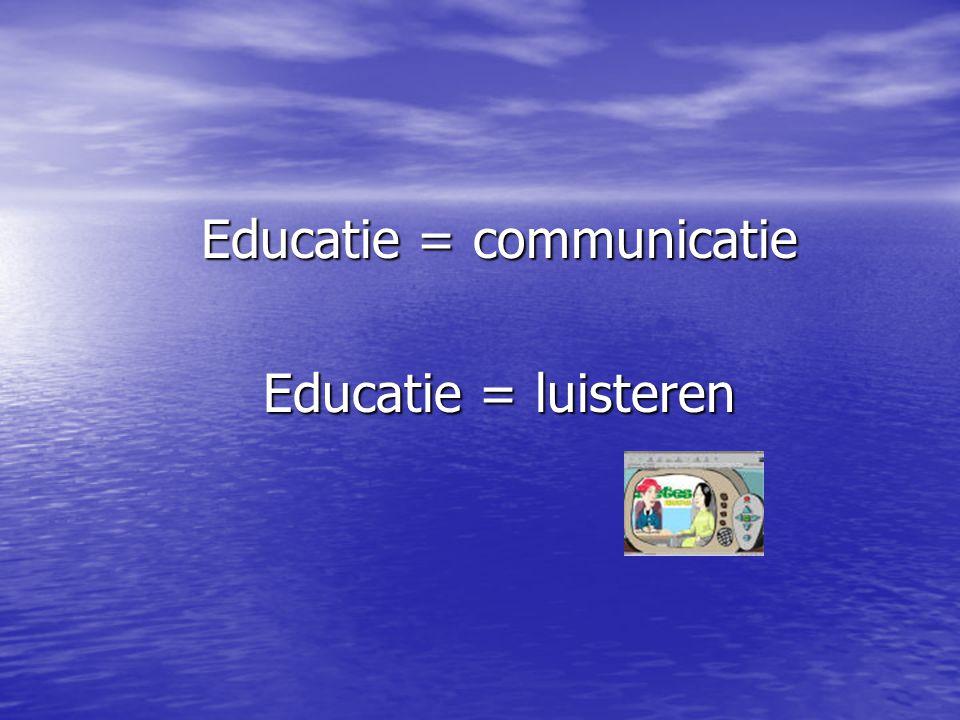 Educatie = communicatie Educatie = luisteren