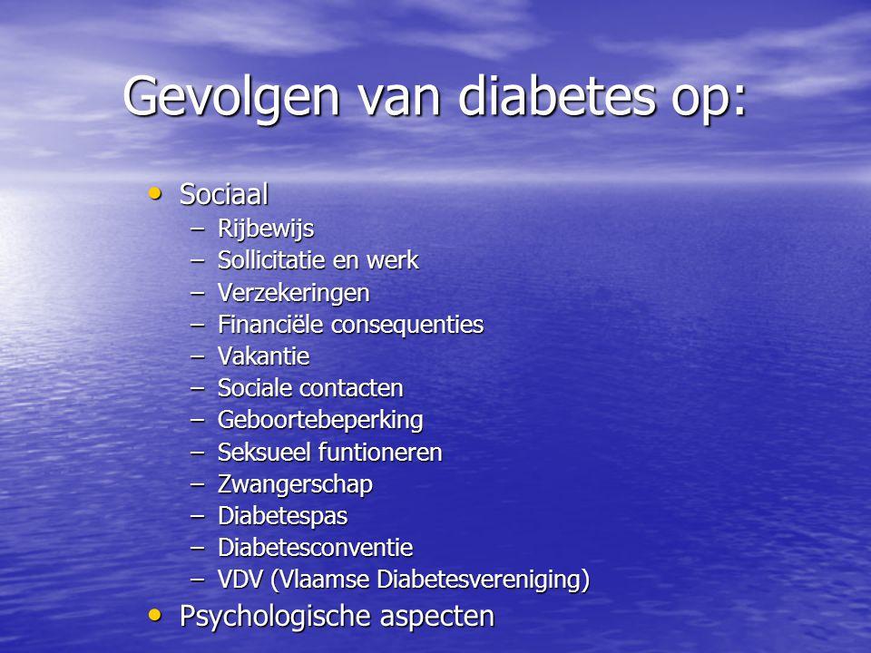 Gevolgen van diabetes op: Sociaal Sociaal –Rijbewijs –Sollicitatie en werk –Verzekeringen –Financiële consequenties –Vakantie –Sociale contacten –Gebo