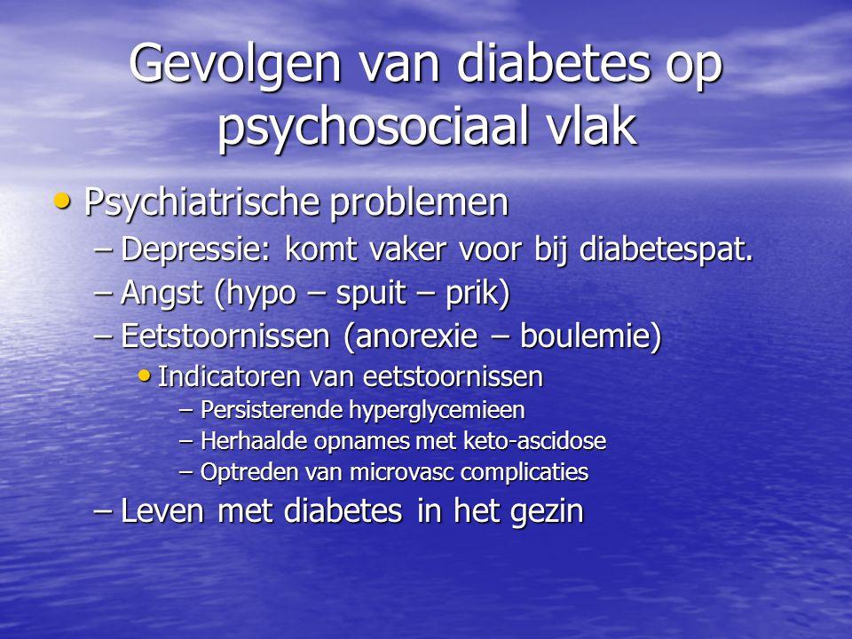 Gevolgen van diabetes op psychosociaal vlak Psychiatrische problemen Psychiatrische problemen –Depressie: komt vaker voor bij diabetespat. –Angst (hyp