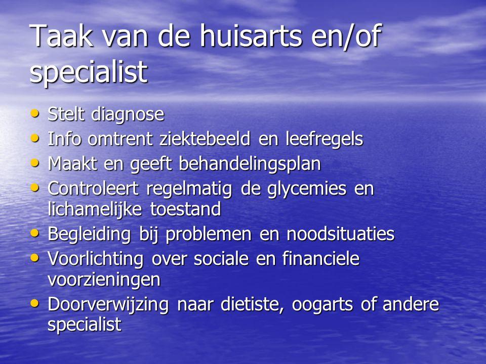 Taak van de huisarts en/of specialist Stelt diagnose Stelt diagnose Info omtrent ziektebeeld en leefregels Info omtrent ziektebeeld en leefregels Maak