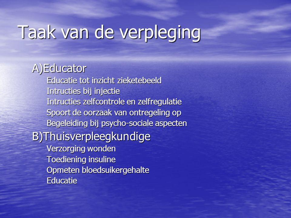 Taak van de verpleging A)Educator Educatie tot inzicht zieketebeeld Intructies bij injectie Intructies zelfcontrole en zelfregulatie Spoort de oorzaak