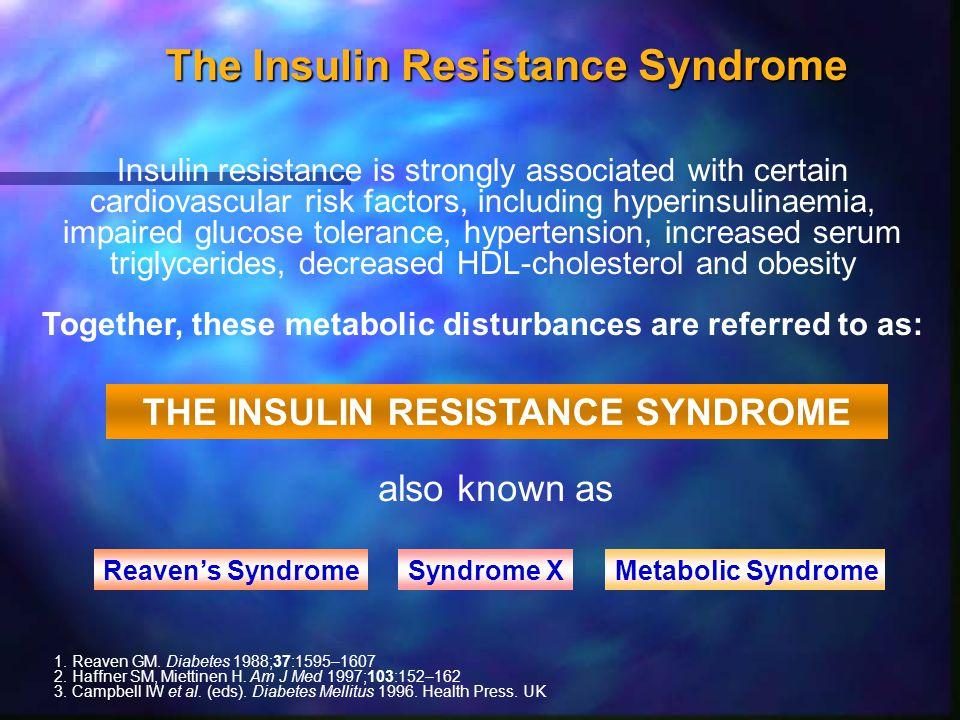The Insulin Resistance Syndrome n Type 2 diabetes or impaired glucose tolerance n Obesity n Dyslipidaemia  Blood pressure  Blood pressure n Insulin resistance n Hyperinsulinaemia (initially) n Atherosclerosis DeFronzo, Ferrannini.