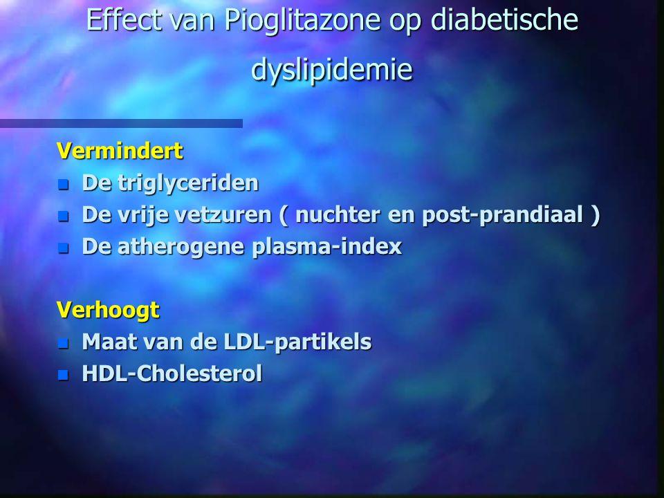 Effect van Pioglitazone op diabetische dyslipidemie Vermindert n De triglyceriden n De vrije vetzuren ( nuchter en post-prandiaal ) n De atherogene pl