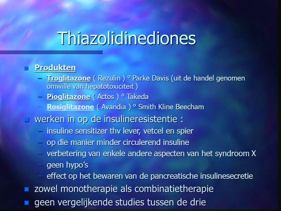 Thiazolidinediones n Produkten –Troglitazone ( Rezulin ) ° Parke Davis (uit de handel genomen omwille van hepatotoxiciteit ) –Pioglitazone ( Actos ) °