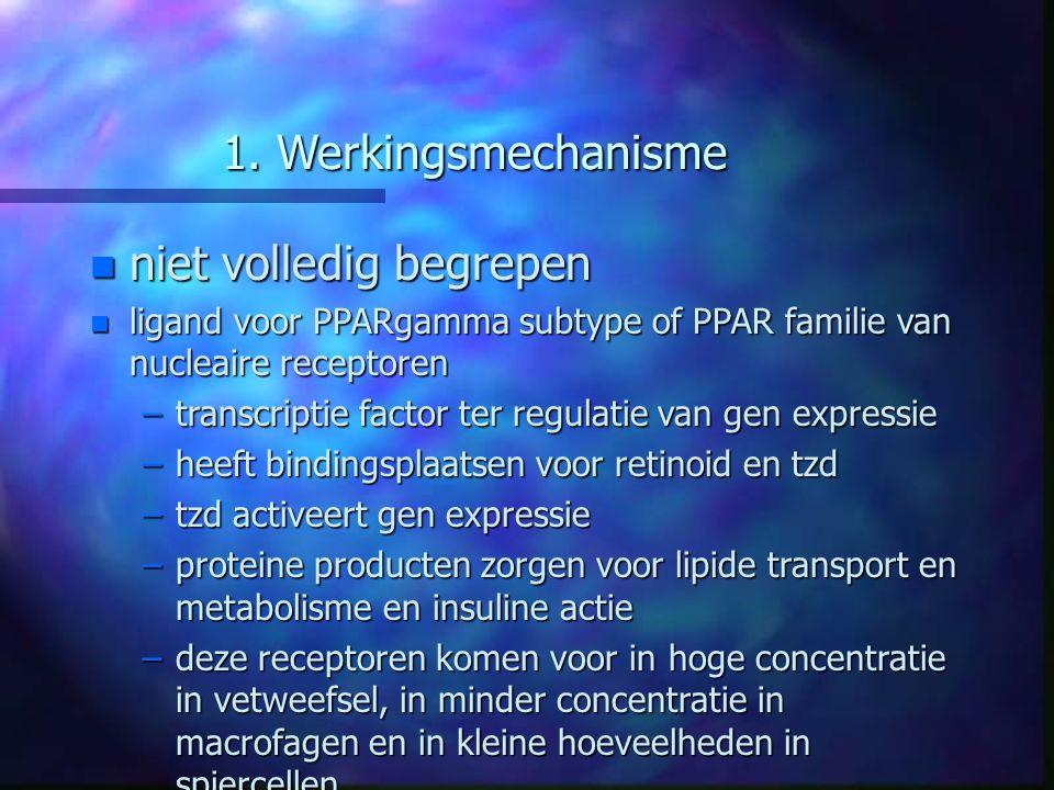 1. Werkingsmechanisme n niet volledig begrepen n ligand voor PPARgamma subtype of PPAR familie van nucleaire receptoren –transcriptie factor ter regul