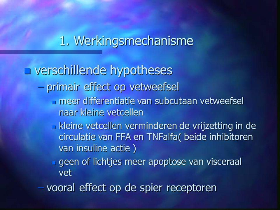 1. Werkingsmechanisme n verschillende hypotheses –primair effect op vetweefsel n meer differentiatie van subcutaan vetweefsel naar kleine vetcellen n