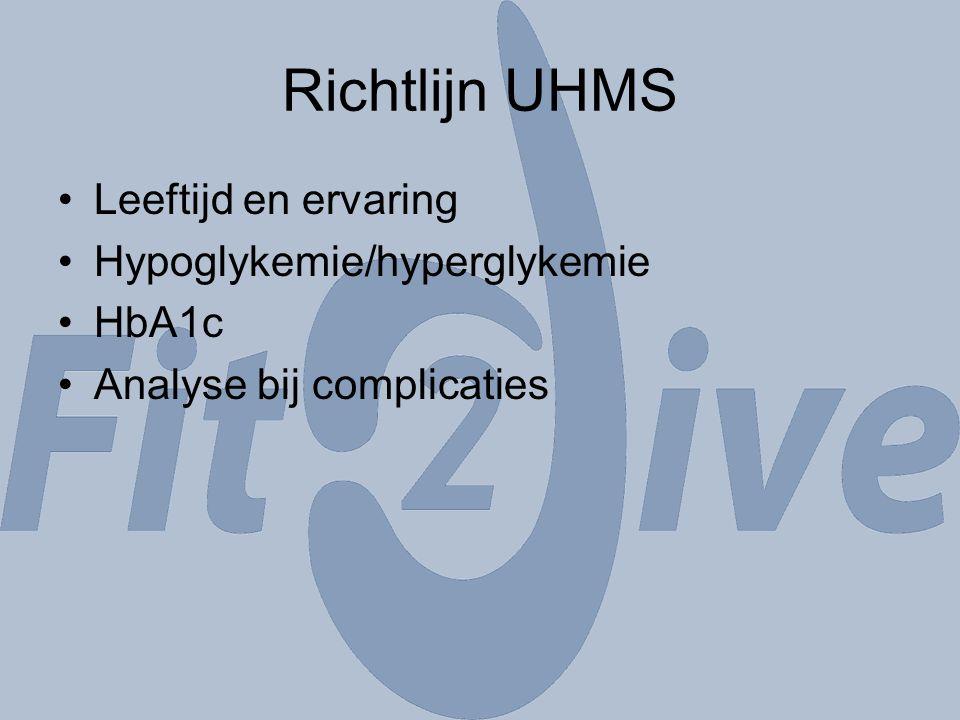 Richtlijn UHMS Leeftijd en ervaring Hypoglykemie/hyperglykemie HbA1c Analyse bij complicaties