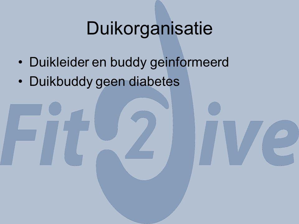 Duikorganisatie Duikleider en buddy geinformeerd Duikbuddy geen diabetes