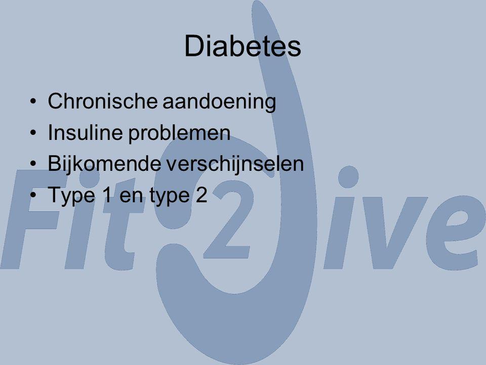 Diabetes Chronische aandoening Insuline problemen Bijkomende verschijnselen Type 1 en type 2