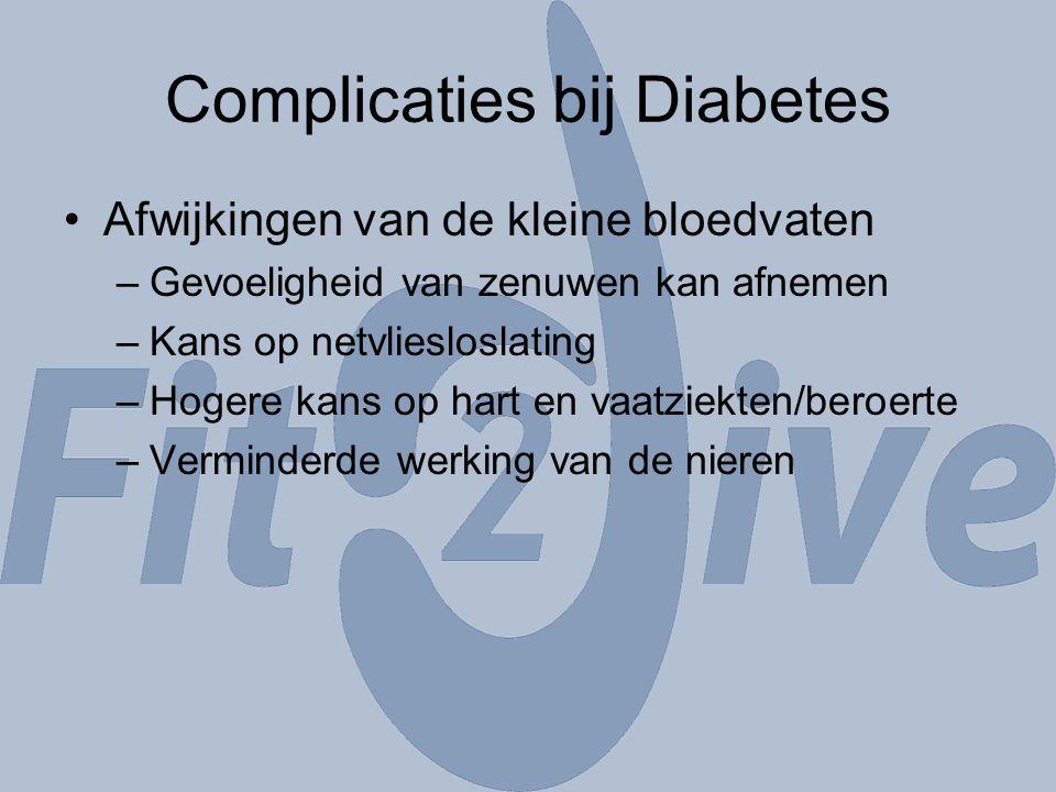 Complicaties bij Diabetes Afwijkingen van de kleine bloedvaten –Gevoeligheid van zenuwen kan afnemen –Kans op netvliesloslating –Hogere kans op hart e