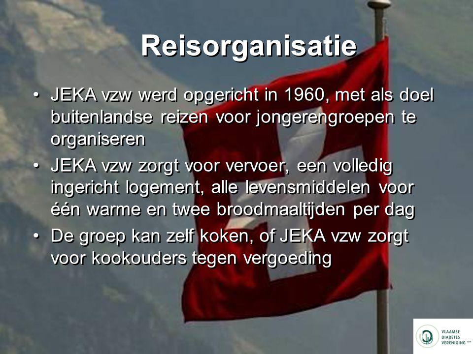 Reisorganisatie JEKA vzw werd opgericht in 1960, met als doel buitenlandse reizen voor jongerengroepen te organiseren JEKA vzw zorgt voor vervoer, een volledig ingericht logement, alle levensmiddelen voor één warme en twee broodmaaltijden per dag De groep kan zelf koken, of JEKA vzw zorgt voor kookouders tegen vergoeding JEKA vzw werd opgericht in 1960, met als doel buitenlandse reizen voor jongerengroepen te organiseren JEKA vzw zorgt voor vervoer, een volledig ingericht logement, alle levensmiddelen voor één warme en twee broodmaaltijden per dag De groep kan zelf koken, of JEKA vzw zorgt voor kookouders tegen vergoeding