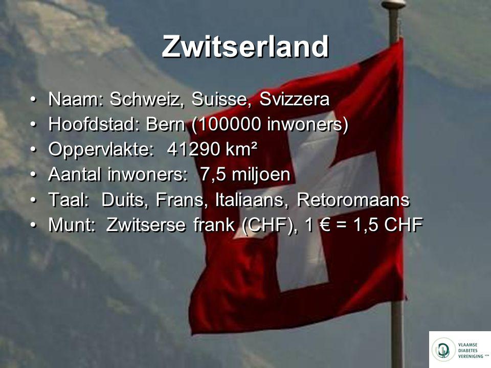 Zwitserland Naam: Schweiz, Suisse, Svizzera Hoofdstad: Bern (100000 inwoners) Oppervlakte: 41290 km² Aantal inwoners: 7,5 miljoen Taal: Duits, Frans, Italiaans, Retoromaans Munt: Zwitserse frank (CHF), 1 € = 1,5 CHF Naam: Schweiz, Suisse, Svizzera Hoofdstad: Bern (100000 inwoners) Oppervlakte: 41290 km² Aantal inwoners: 7,5 miljoen Taal: Duits, Frans, Italiaans, Retoromaans Munt: Zwitserse frank (CHF), 1 € = 1,5 CHF