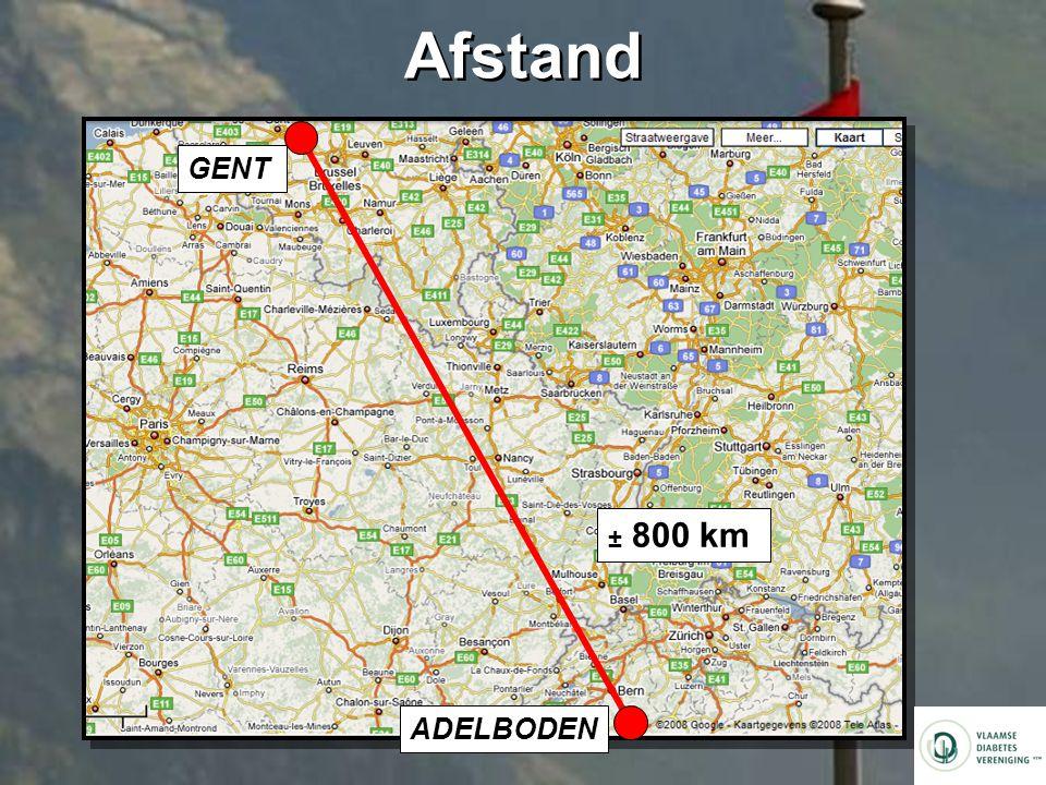 Afstand GENT ADELBODEN ± 800 km