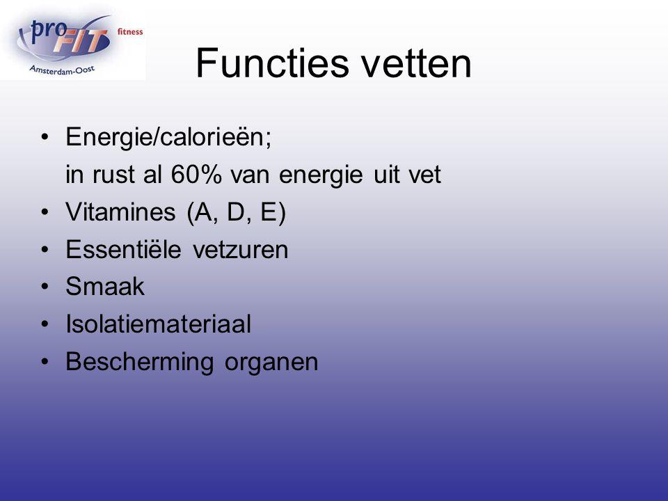 Functies vetten Energie/calorieën; in rust al 60% van energie uit vet Vitamines (A, D, E) Essentiële vetzuren Smaak Isolatiemateriaal Bescherming orga