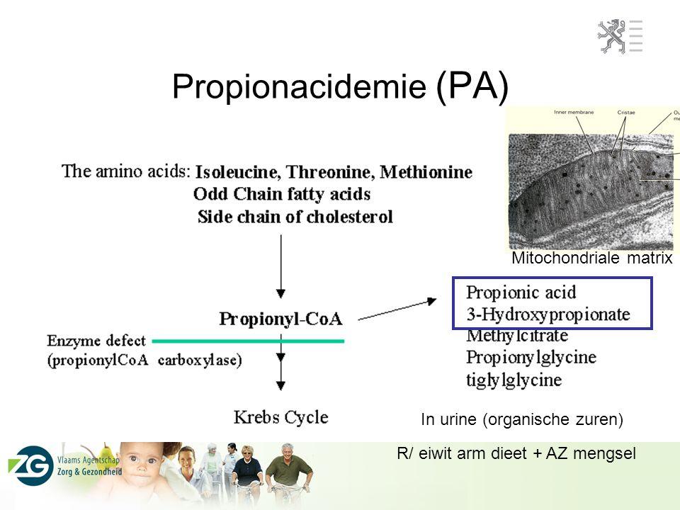 Propionacidemie (PA) Mitochondriale matrix In urine (organische zuren) R/ eiwit arm dieet + AZ mengsel