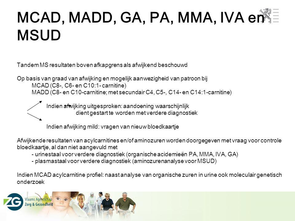 MCAD, MADD, GA, PA, MMA, IVA en MSUD Tandem MS resultaten boven afkapgrens als afwijkend beschouwd Op basis van graad van afwijking en mogelijk aanwez