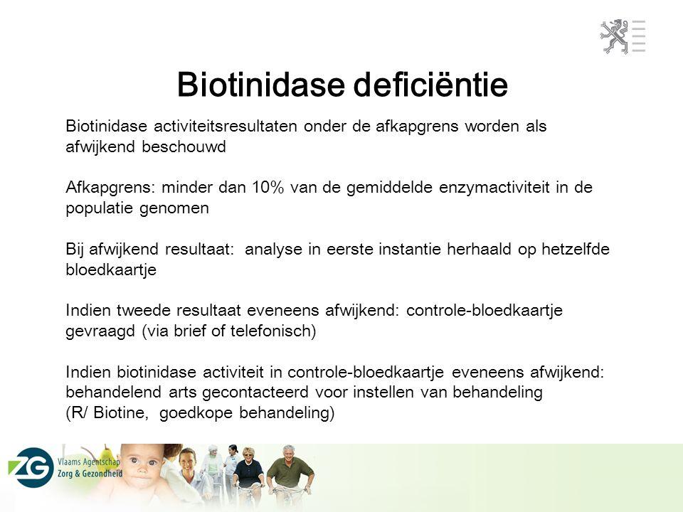 Biotinidase deficiëntie Biotinidase activiteitsresultaten onder de afkapgrens worden als afwijkend beschouwd Afkapgrens: minder dan 10% van de gemidde