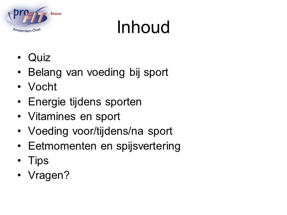 Vraag 1 Tijdens het sporten is het goed AA-drink te drinken Juist/Onjuist ?