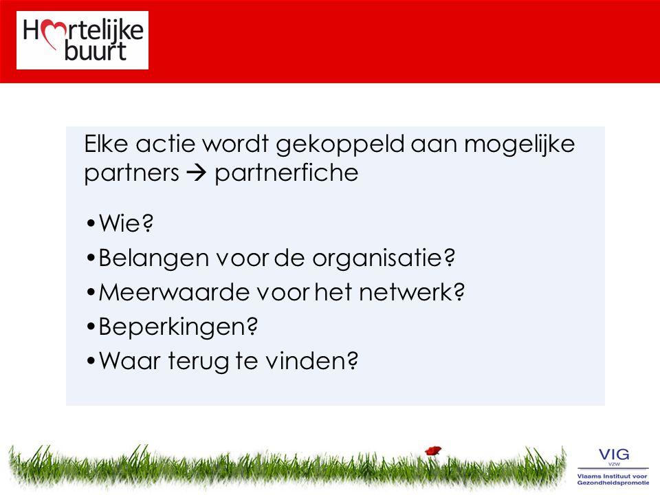 Elke actie wordt gekoppeld aan mogelijke partners  partnerfiche Wie.
