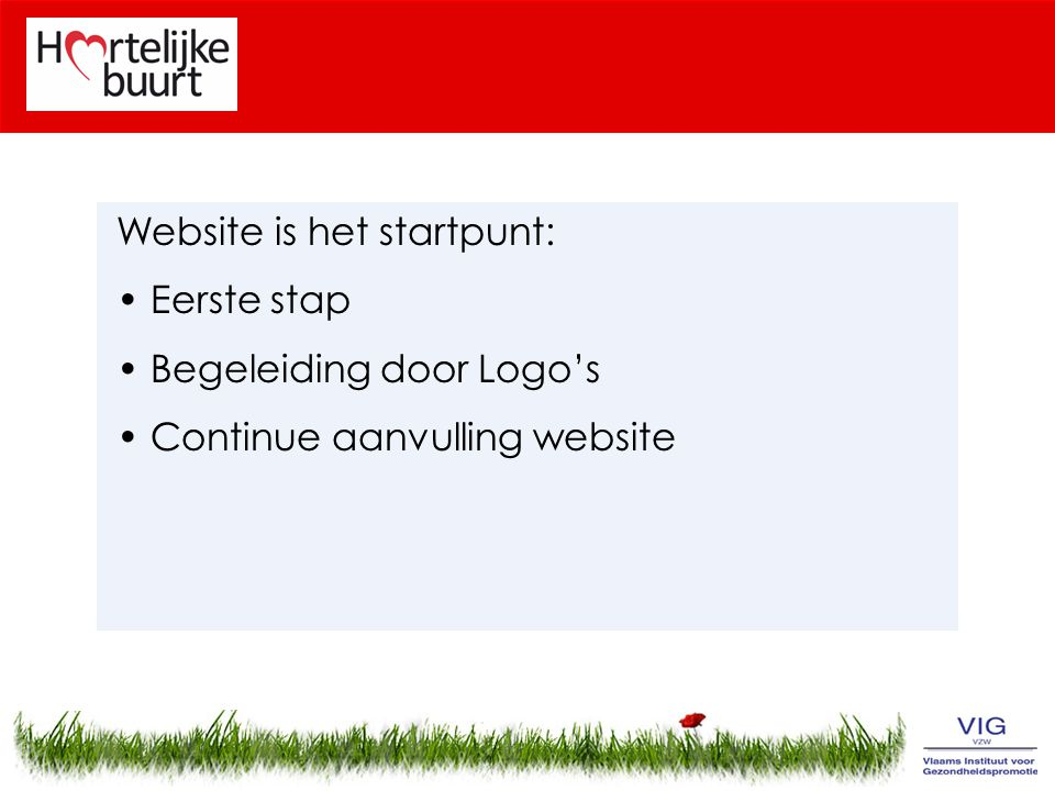 Website is het startpunt: Eerste stap Begeleiding door Logo's Continue aanvulling website