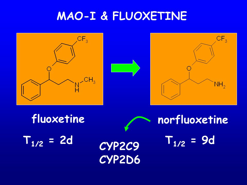 MAO-I & FLUOXETINE fluoxetine norfluoxetine T 1/2 = 2dT 1/2 = 9d CYP2C9 CYP2D6
