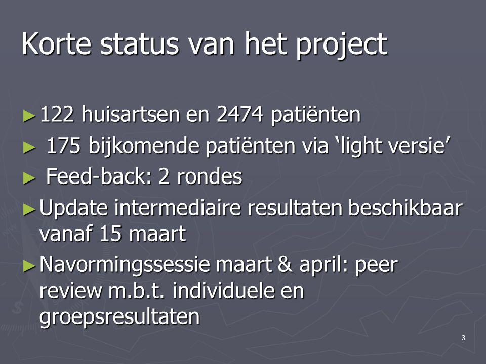 4 Korte status van het project ► Groepseducatie patiënten= 13 huisartsen ► Mogelijkheid diabetesconsultatie in praktijk vanaf april 2006 ► Verlenging Diabetes Steunteam in M.C.H's tot einde 2006.