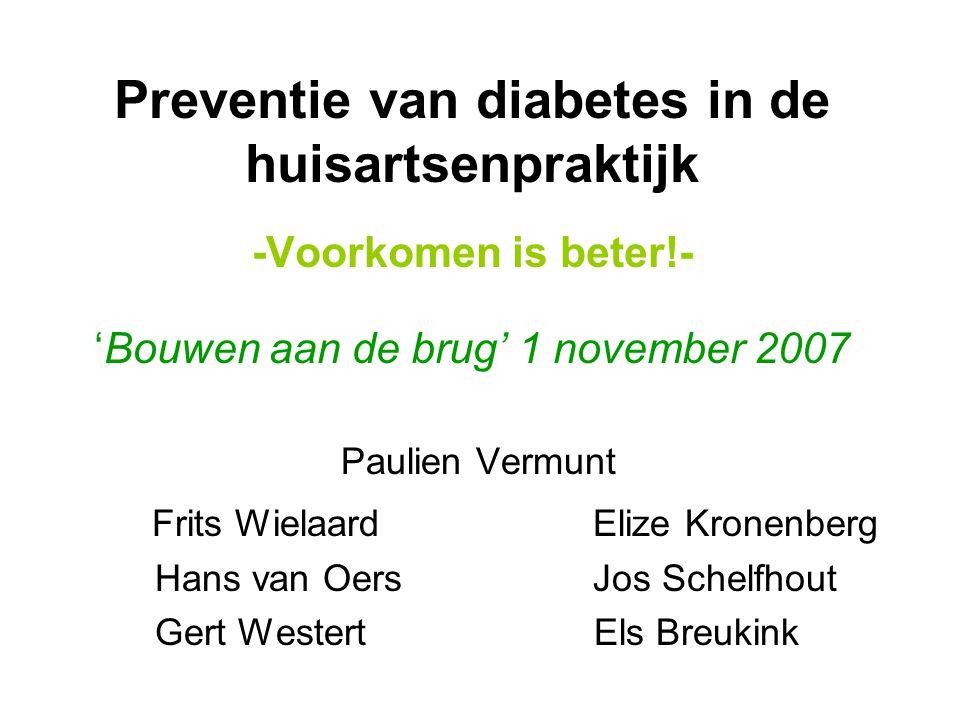 Feiten en cijfers 1993: 250.000 DM patiënten 2003: 600.000 DM patiënten Bijna 90% type II Elk jaar meer dan 70.000 nieuwe patiënten 2003: 735 miljoen euro 1,3% totale zorgkosten Bijna 1 miljoen prediabeten 40-70 jaar: elk jaar 5-10% conversie naar diabetes.