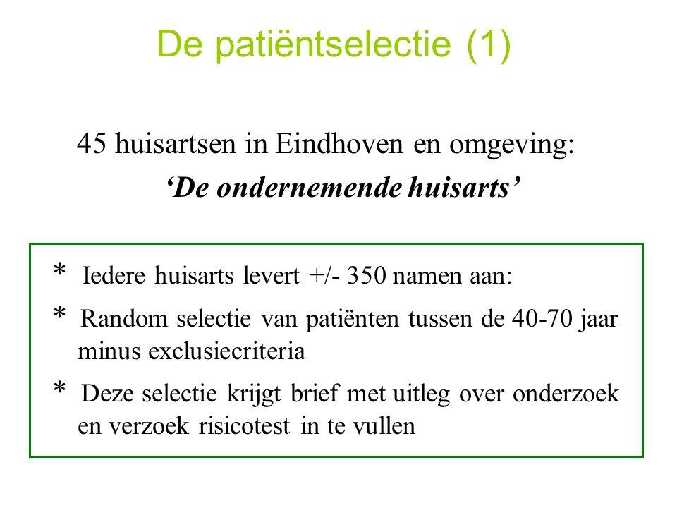 De patiëntselectie (1) 45 huisartsen in Eindhoven en omgeving: 'De ondernemende huisarts' * Iedere huisarts levert +/- 350 namen aan: * Random selectie van patiënten tussen de 40-70 jaar minus exclusiecriteria * Deze selectie krijgt brief met uitleg over onderzoek en verzoek risicotest in te vullen