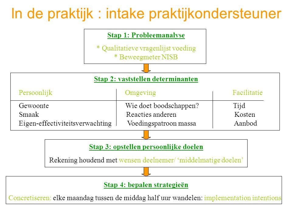 In de praktijk : intake praktijkondersteuner Stap 1: Probleemanalyse * Qualitatieve vragenlijst voeding * Beweegmeter NISB Stap 2: vaststellen determi