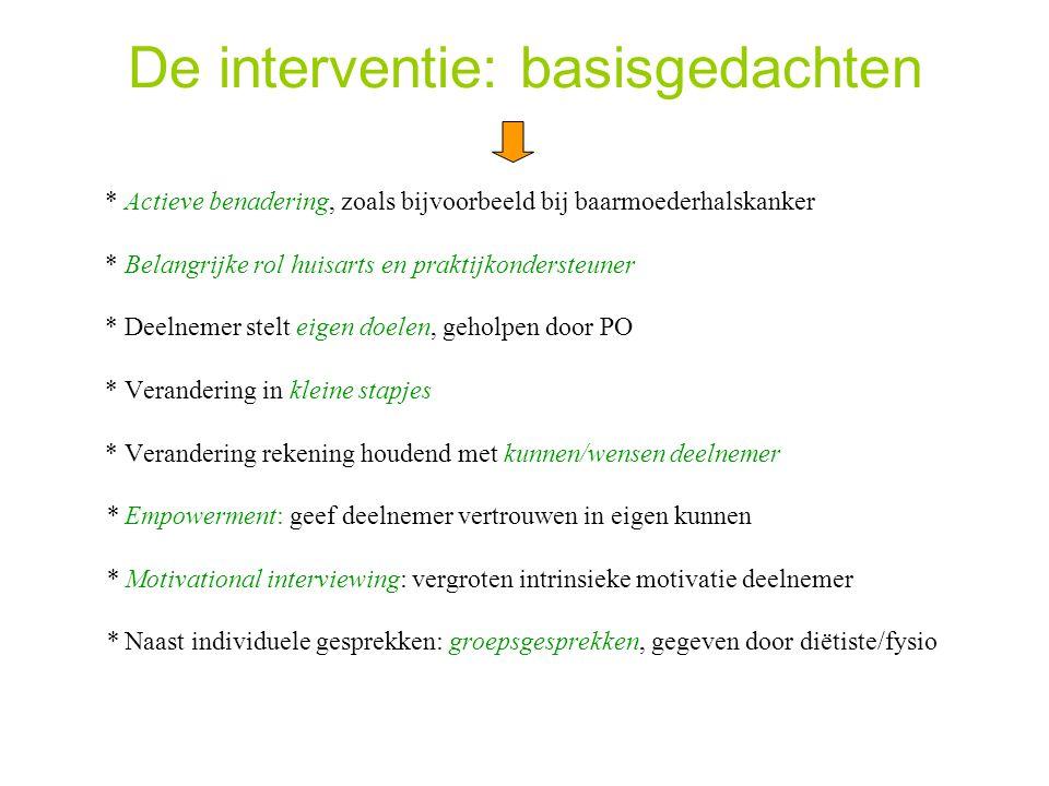 De interventie: basisgedachten * Actieve benadering, zoals bijvoorbeeld bij baarmoederhalskanker * Belangrijke rol huisarts en praktijkondersteuner *
