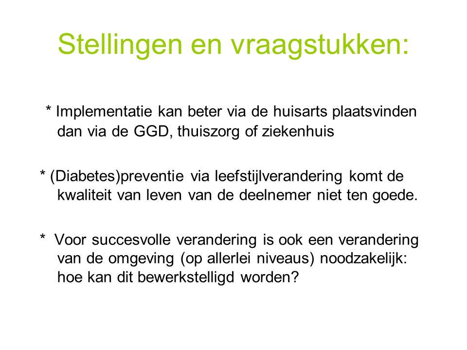 Stellingen en vraagstukken: * Implementatie kan beter via de huisarts plaatsvinden dan via de GGD, thuiszorg of ziekenhuis * (Diabetes)preventie via l