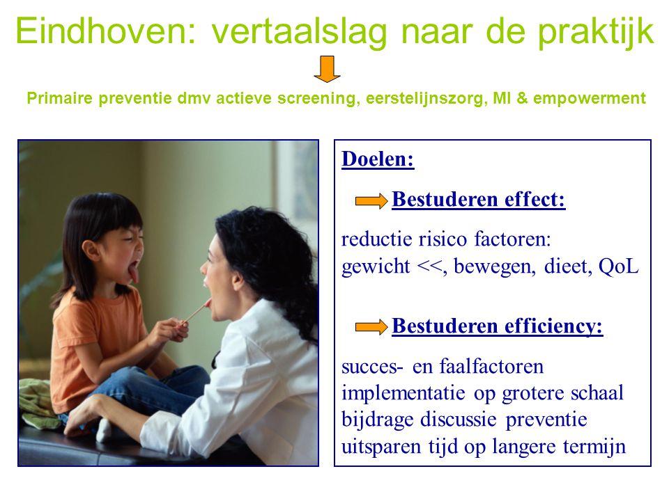 Eindhoven: vertaalslag naar de praktijk Primaire preventie dmv actieve screening, eerstelijnszorg, MI & empowerment Doelen: Bestuderen effect: reducti