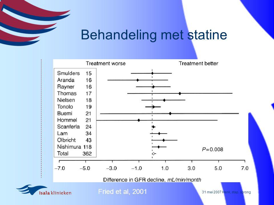 31 mei 2007 Henk, stap, sprong Behandeling met statine Fried et al, 2001