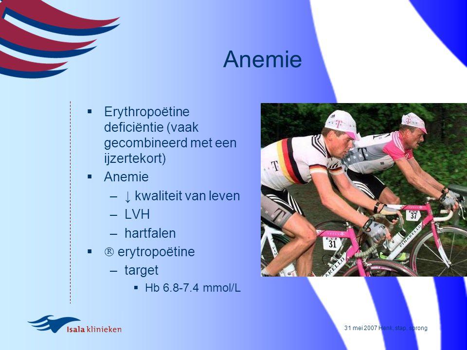 31 mei 2007 Henk, stap, sprong Anemie  Erythropoëtine deficiëntie (vaak gecombineerd met een ijzertekort)  Anemie –↓ kwaliteit van leven –LVH –hartf
