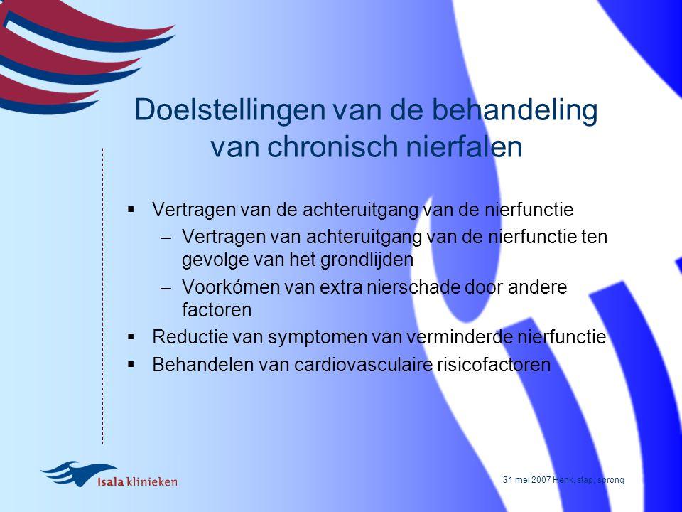 31 mei 2007 Henk, stap, sprong Doelstellingen van de behandeling van chronisch nierfalen  Vertragen van de achteruitgang van de nierfunctie –Vertrage
