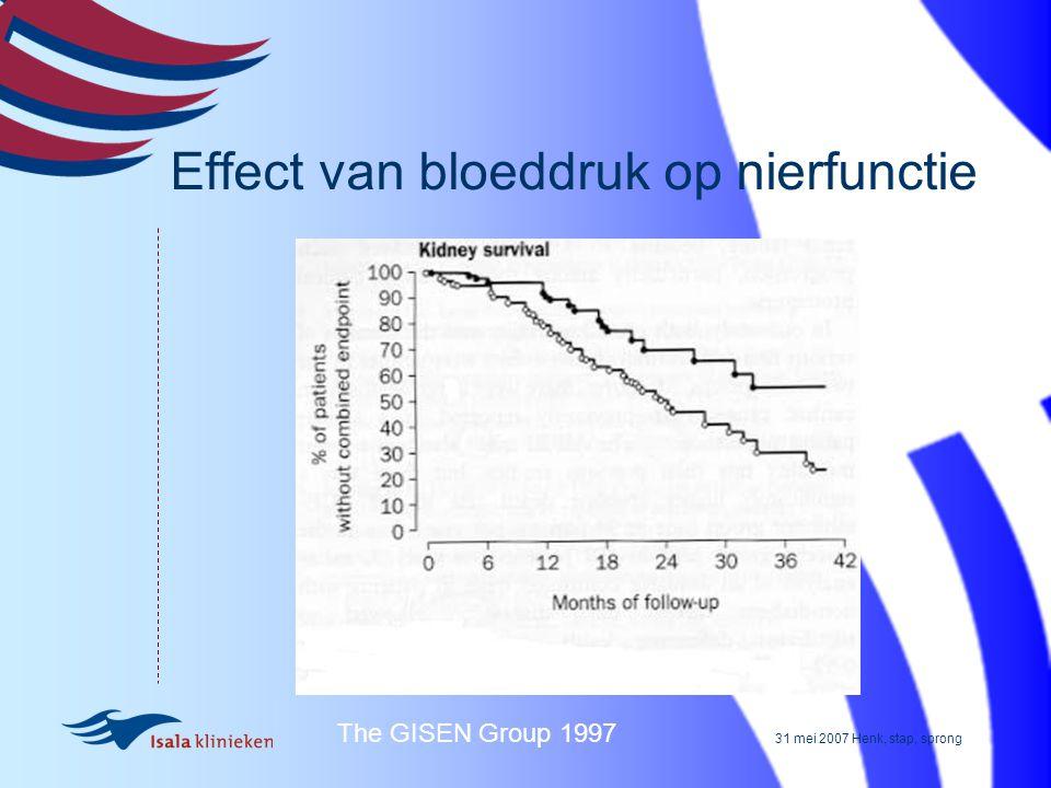 31 mei 2007 Henk, stap, sprong Effect van bloeddruk op nierfunctie The GISEN Group 1997