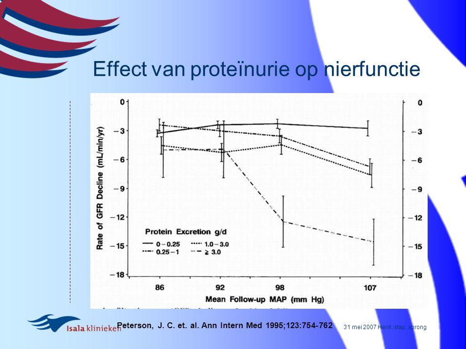 31 mei 2007 Henk, stap, sprong Peterson, J. C. et. al. Ann Intern Med 1995;123:754-762 Effect van proteïnurie op nierfunctie