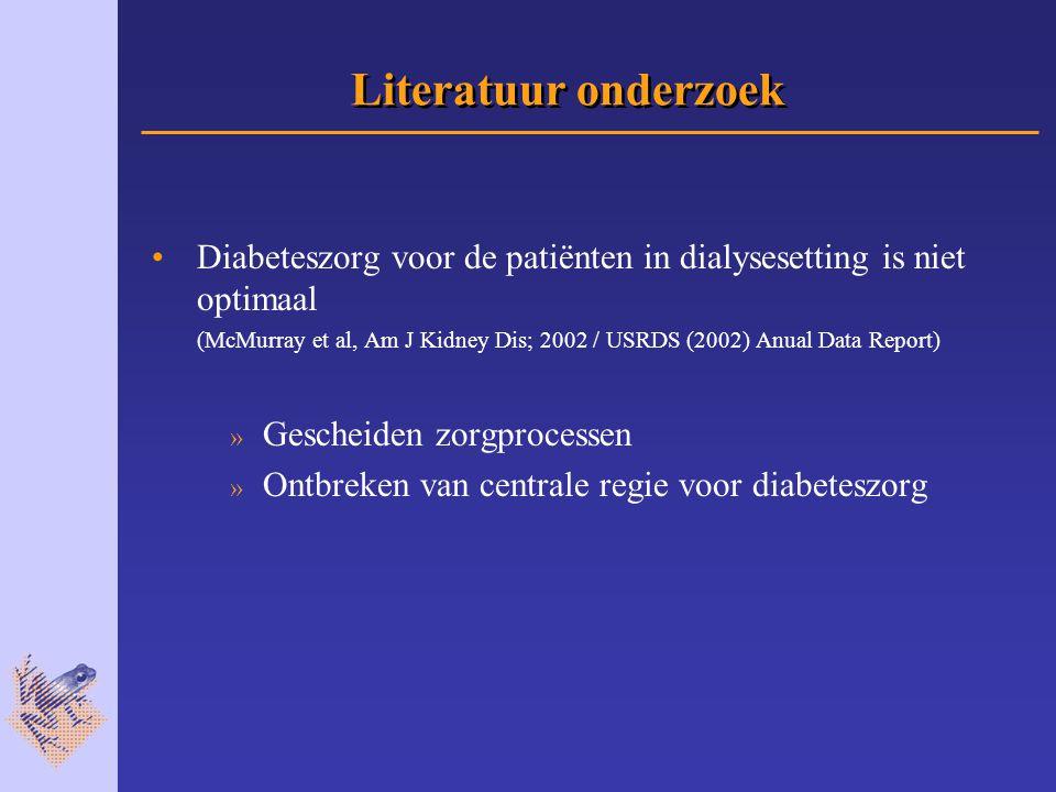 Literatuur onderzoek Diabeteszorg voor de patiënten in dialysesetting is niet optimaal (McMurray et al, Am J Kidney Dis; 2002 / USRDS (2002) Anual Data Report) » Gescheiden zorgprocessen » Ontbreken van centrale regie voor diabeteszorg