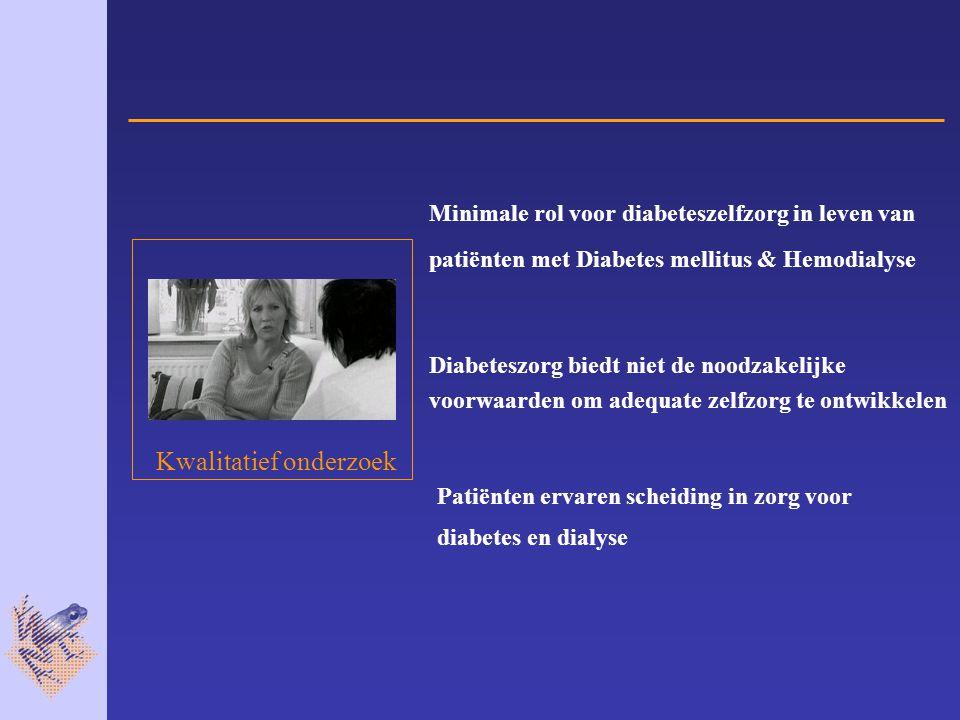 Minimale rol voor diabeteszelfzorg in leven van patiënten met Diabetes mellitus & Hemodialyse Diabeteszorg biedt niet de noodzakelijke voorwaarden om adequate zelfzorg te ontwikkelen Patiënten ervaren scheiding in zorg voor diabetes en dialyse Kwalitatief onderzoek