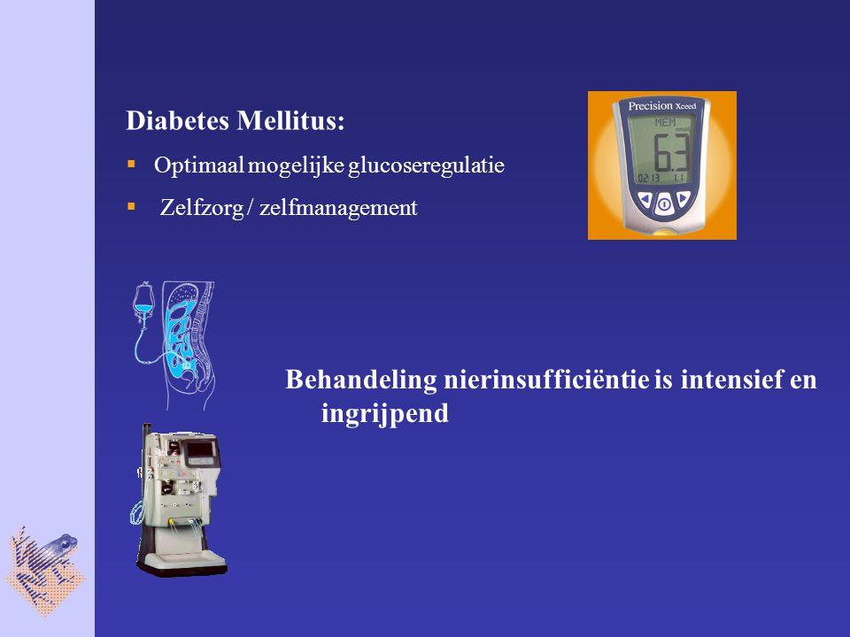 Behandeling nierinsufficiëntie is intensief en ingrijpend Diabetes Mellitus:  Optimaal mogelijke glucoseregulatie  Zelfzorg / zelfmanagement