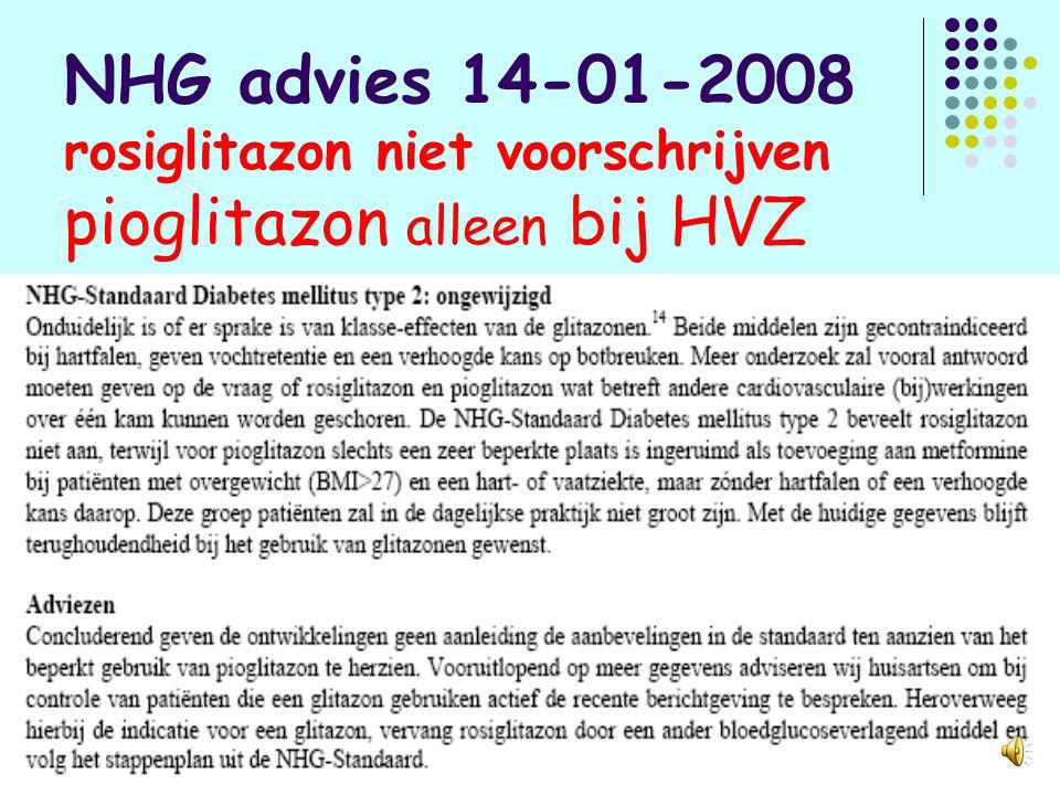 EMEA advies januari 2008 over rosiglitazon: niet voorschrijven bij HVZ en hartfalen